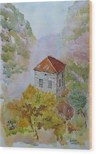 House Between Mountains Wood Print by Ghazi Toutounji