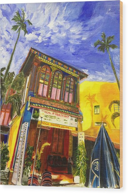 House Of The Rising Palms Wood Print