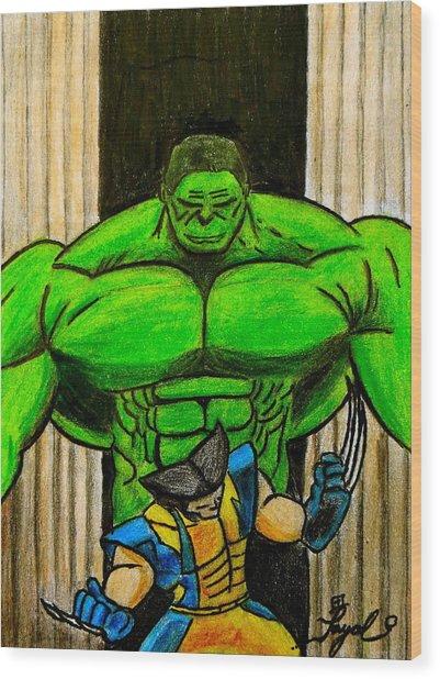 Hulk Vs Wolverine Wood Print by Artistic Indian Nurse