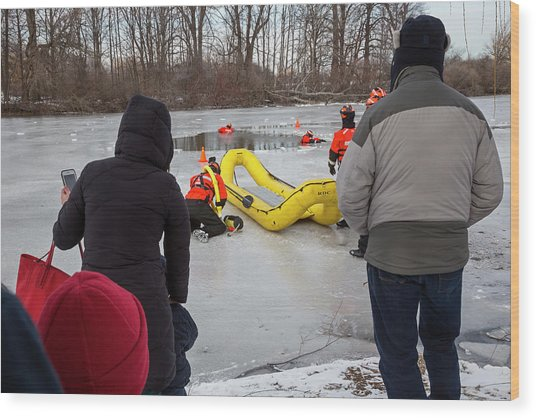 Ice Rescue Demonstration Wood Print by Jim West/science Photo Library
