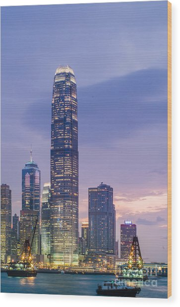 Ifc Tower In Hong Kong Skyline Wood Print by Tuimages
