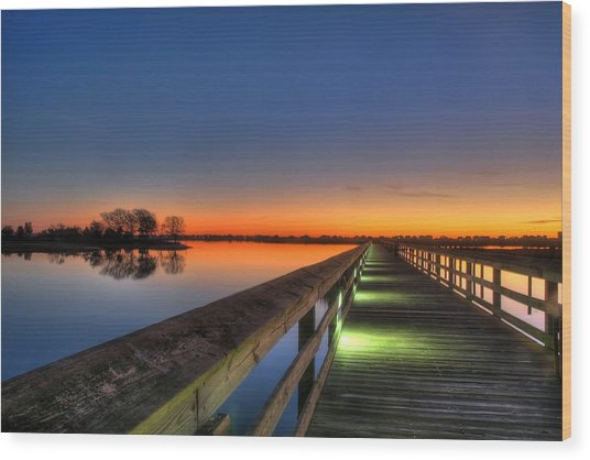 Inlet Sunrise Wood Print