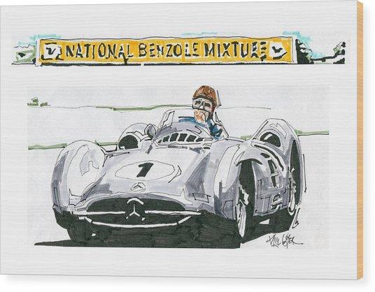 Juan Fangio Mercedes Benz British Grand Prix Wood Print