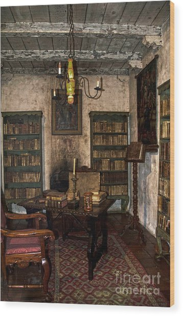 Junipero Serra Library In Carmel Mission Wood Print