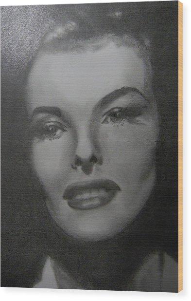 Kathryn Hepburn Wood Print