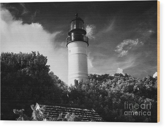 Key West Lighthouse Florida Usa Wood Print by Joe Fox