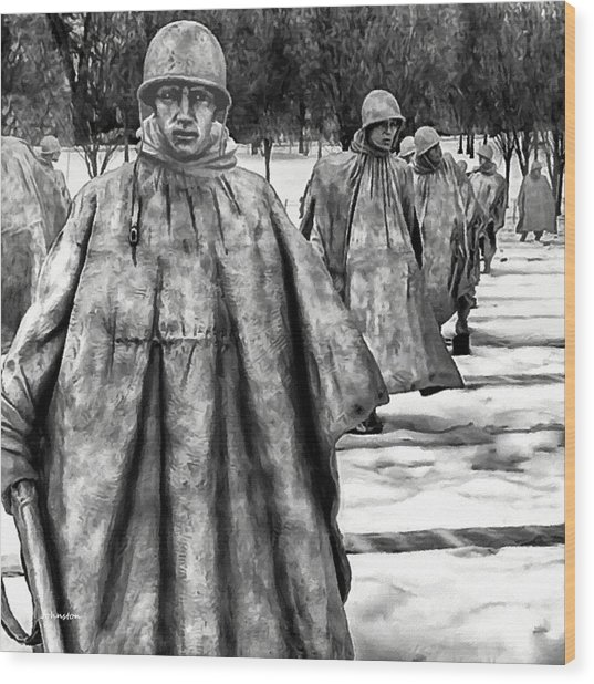 Korean War Memorial Washington Dc Wood Print