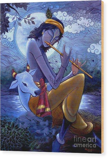 Krishna Wood Print by Rajesh babu Ponnayyan
