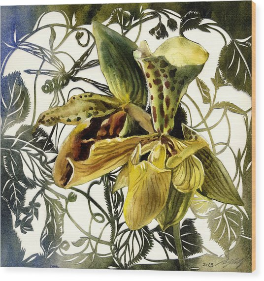 Ladyslipper Orchid Wood Print