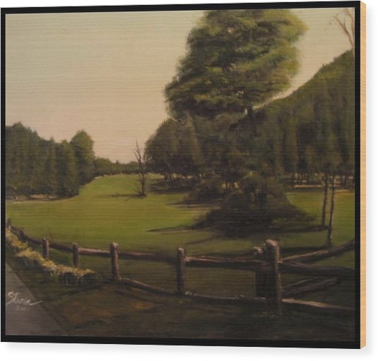 Landscape Of Duxbury Golf Course - Image Of Original Oil Painting Wood Print
