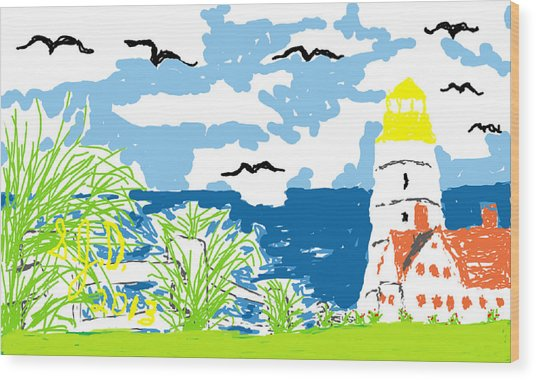 Lighthouse By The Sea Wood Print by Joe Dillon