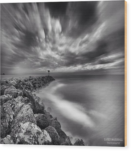 Long Exposure Sunset At The Oceanside Wood Print by Larry Marshall