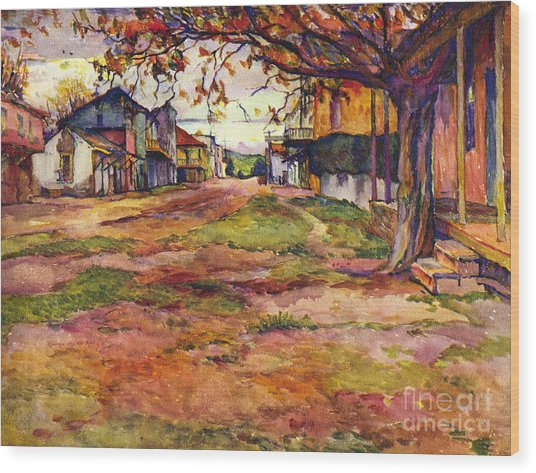 Main Street Of Early Spanish California Days San Juan Bautista Rowena M Abdy Early California Artist Wood Print