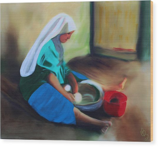 Wood Print featuring the painting Making Bread by Deborah Boyd