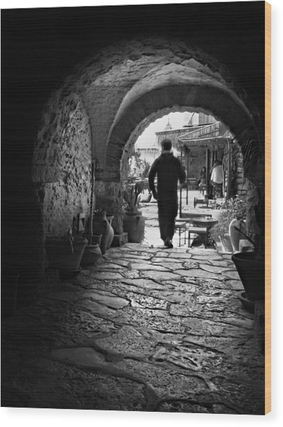 Wood Print featuring the photograph Man In An Archway / Hammamet by Barry O Carroll