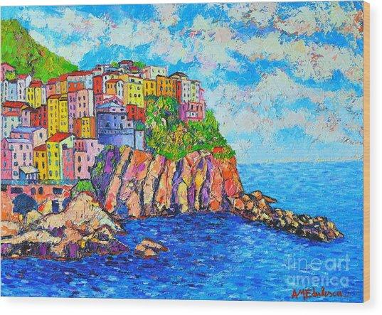 Manarola Cinque Terre Italy  Wood Print
