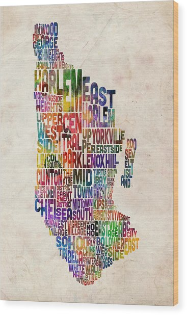 Manhattan New York Typographic Map Wood Print by Michael Tompsett