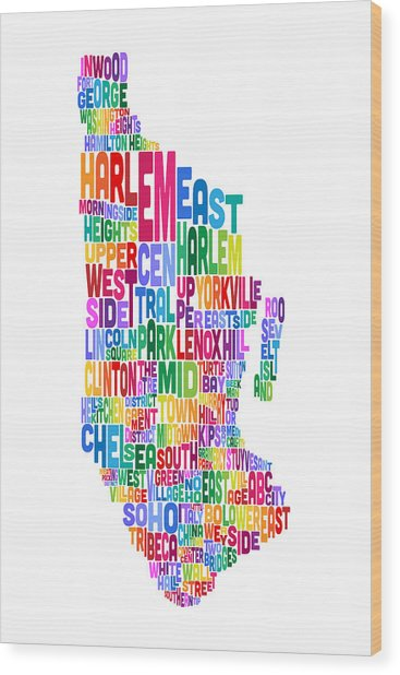 Manhattan New York Typography Text Map Wood Print by Michael Tompsett