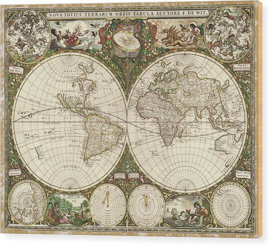Map Of The World Wood Print