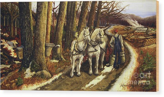 Maple Way Wood Print