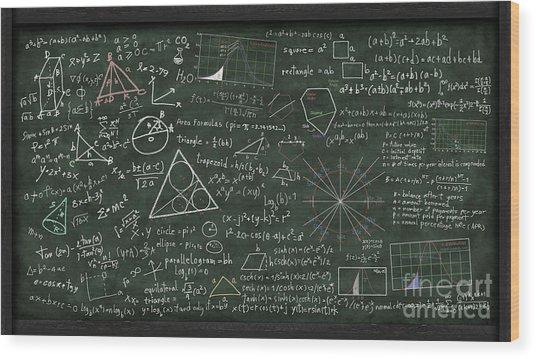 Maths Formula On Chalkboard Wood Print