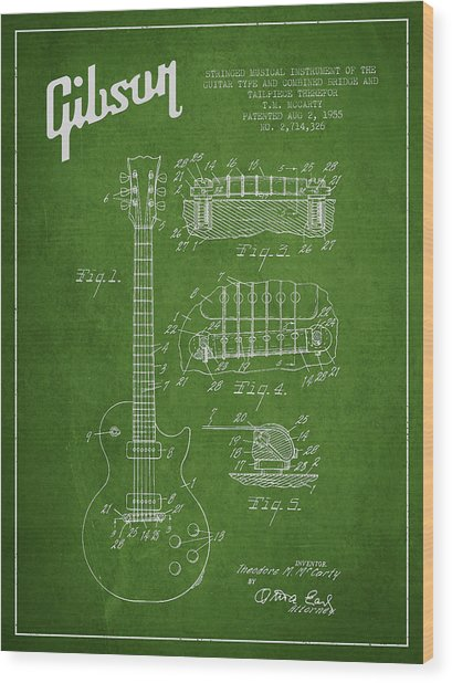 Mccarty Gibson Les Paul Guitar Patent Drawing From 1955 - Green Wood Print