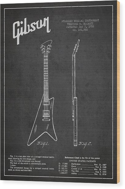 Mccarty Gibson Stringed Instrument Patent Drawing From 1958 - Dark Wood Print