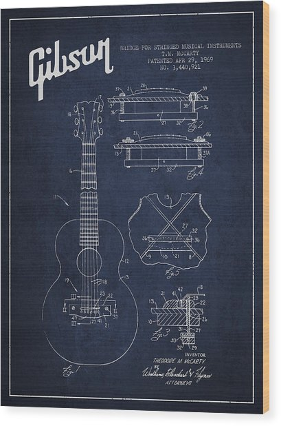 Mccarty Gibson Stringed Instrument Patent Drawing From 1969 - Navy Blue Wood Print