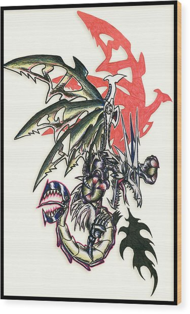 Wood Print featuring the painting Mech Dragon Tattoo by Shawn Dall