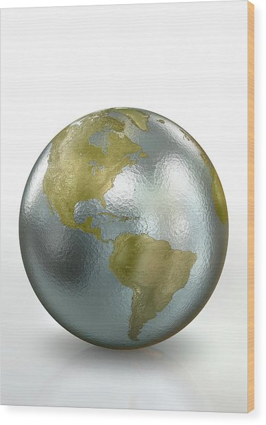 Metallic Earth Wood Print by Animated Healthcare Ltd/science Photo Library