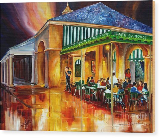 Midnight At The Cafe Du Monde Wood Print