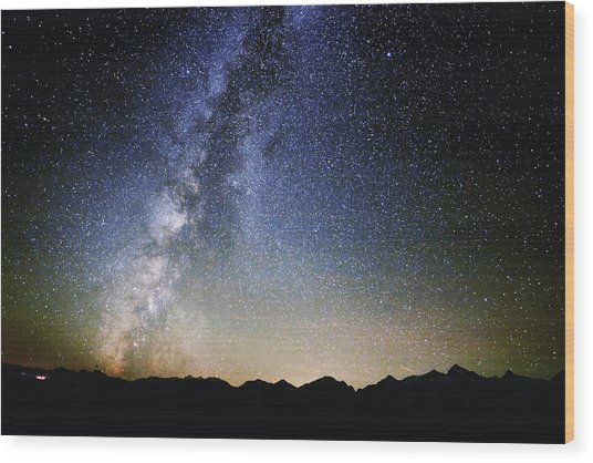 Milky Way At The Tetons Wood Print