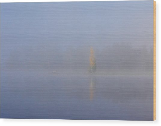 Misty Morning On A Lake Wood Print