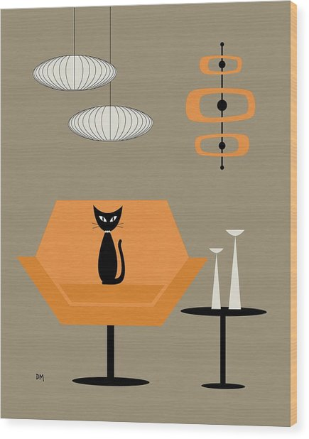 Mod Chair In Orange Wood Print