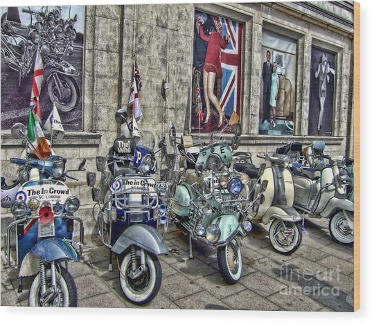 Mod Scooters And 60s Fashion Wood Print