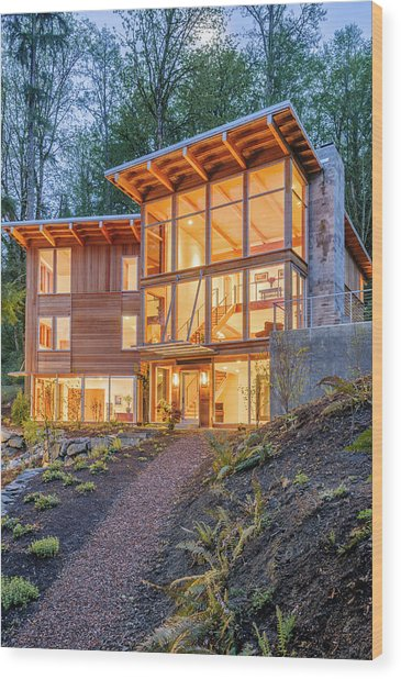 Modern House In Woods Wood Print by Will Austin