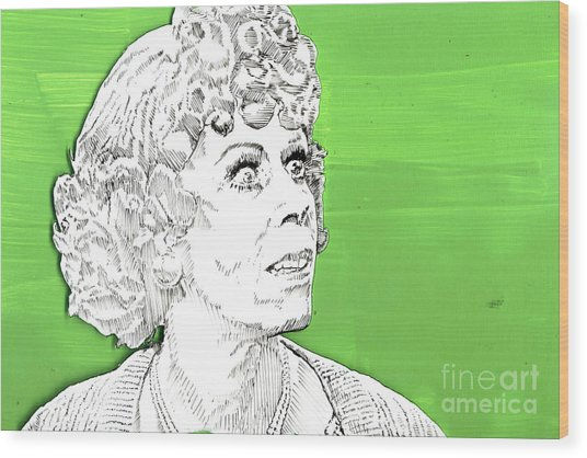 Momma On Green Wood Print