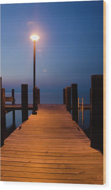 Morning On The Dock Wood Print