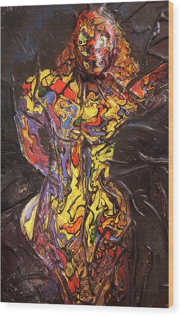 Multicolored Woman Wood Print