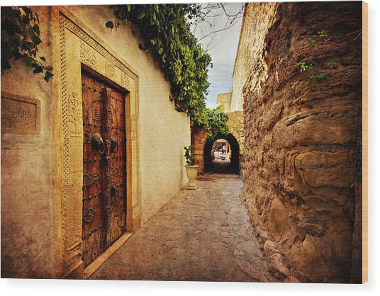 Wood Print featuring the photograph Narrow Street In Souk / Hammamet by Barry O Carroll