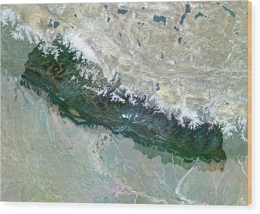 Nepal Wood Print by Planetobserver/science Photo Library