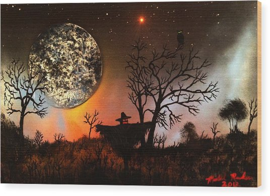 Night Of The Scarecrow  Wood Print