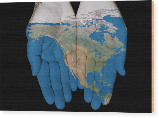 North America In Our Hands Wood Print
