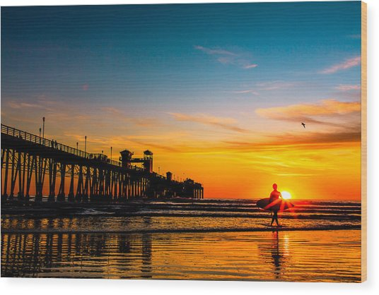 Oceanside Pier At Sunset Wood Print