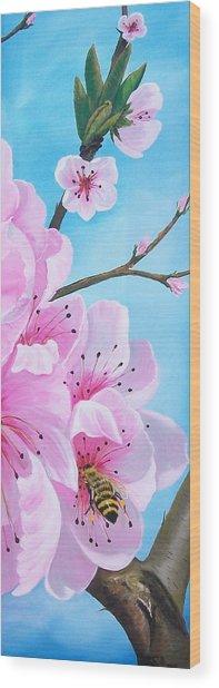 #2 Of Diptych Peach Tree In Bloom Wood Print