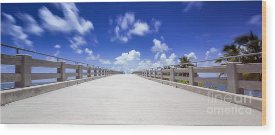 Old Bahia Honda Bridge Florida Keys Wood Print
