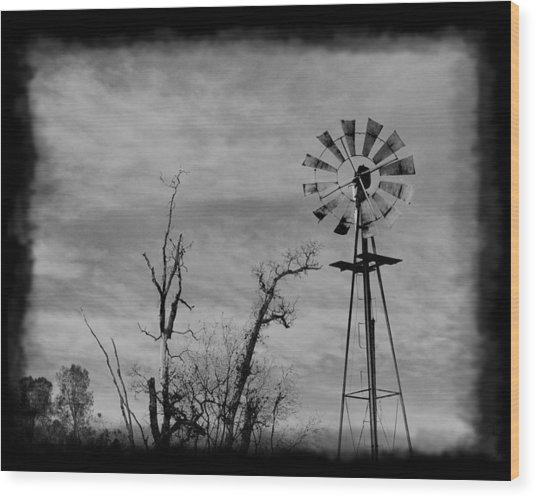 Old West Wind Wheel Wood Print