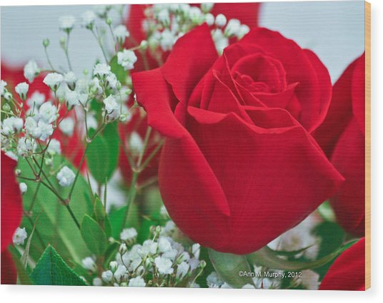 One Red Rose Wood Print