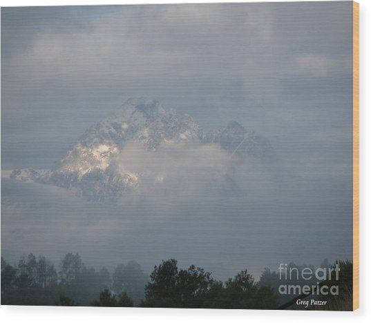 Out Of The Clouds Wood Print by Greg Patzer