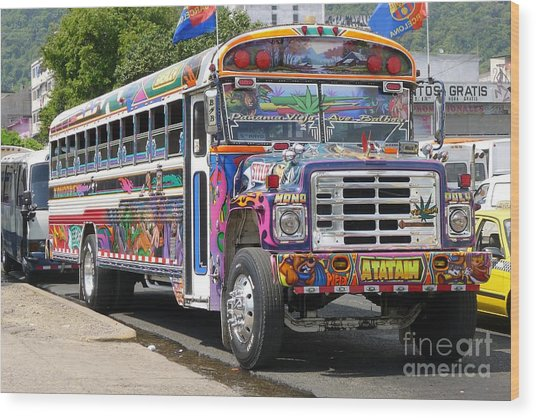 Panama Antigua Bus Wood Print